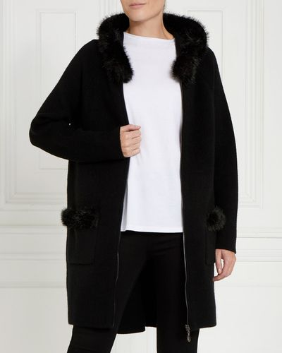 Gallery Faux Fur Hood Cardigan