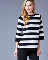 black-white Gallery Ottoman Rib Stripe Jumper