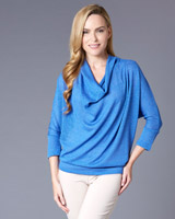 blue Gallery Cowl Neck Knit