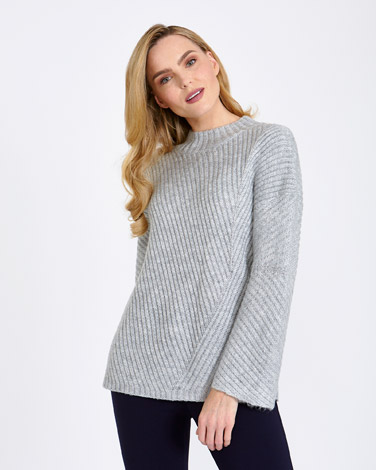 greyGallery Ribbed High-Neck Jumper
