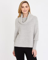 grey Gallery Long-Sleeved Cowl-Neck Jumper