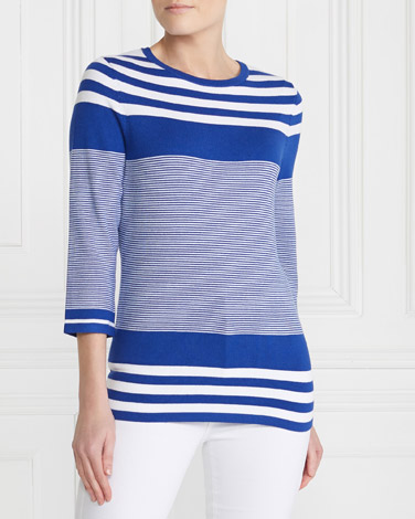 cobalt Gallery Stripe Colour Block Jumper