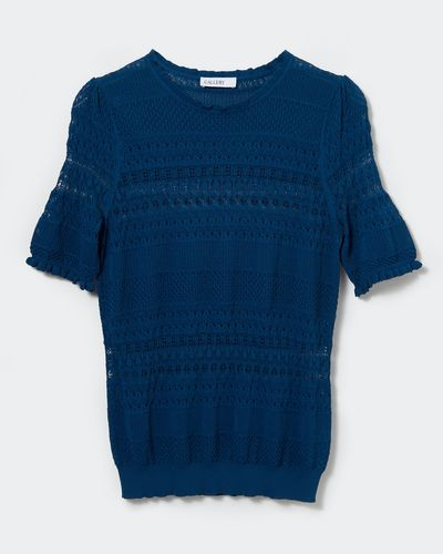 Gallery Short-Sleeve Pointelle Jumper thumbnail
