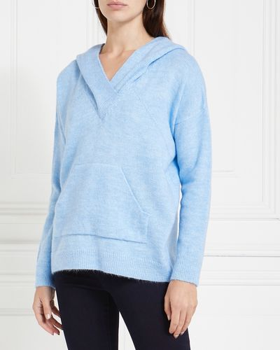 Gallery Amber V-Neck Knit Hoodie