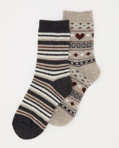 Wool Mix Jacquard Boot Socks - Pack Of 2 thumbnail