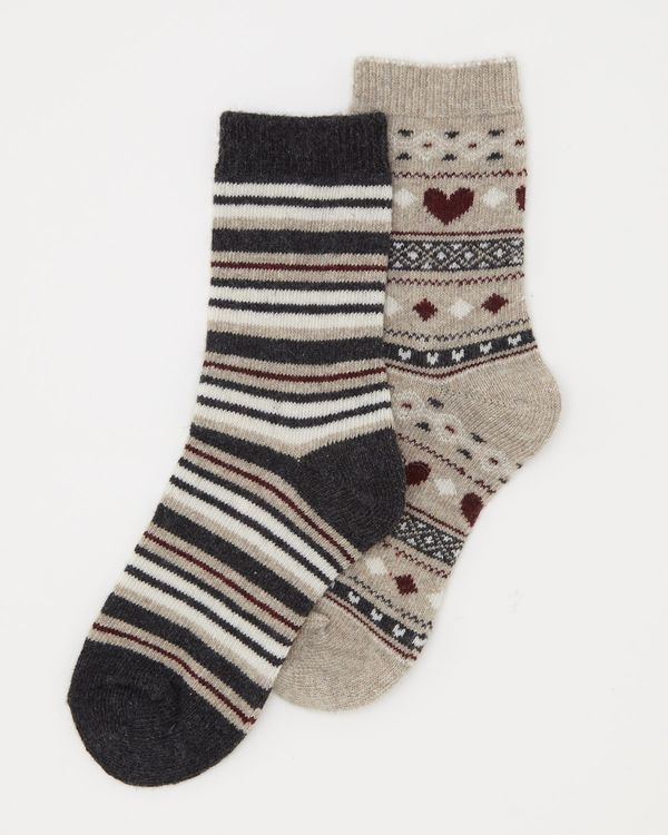 Wool Mix Jacquard Boot Socks - Pack Of 2