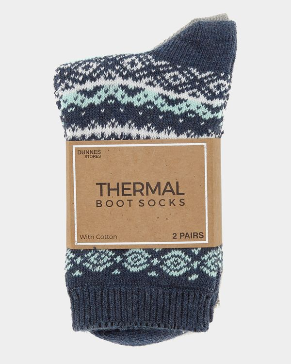 Cotton Jacquard Thermal Boot Socks - Pack Of 2