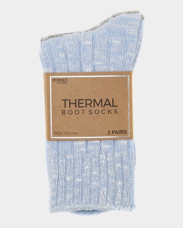 Viscose Rib Thermal Boot Socks - Pack Of 2