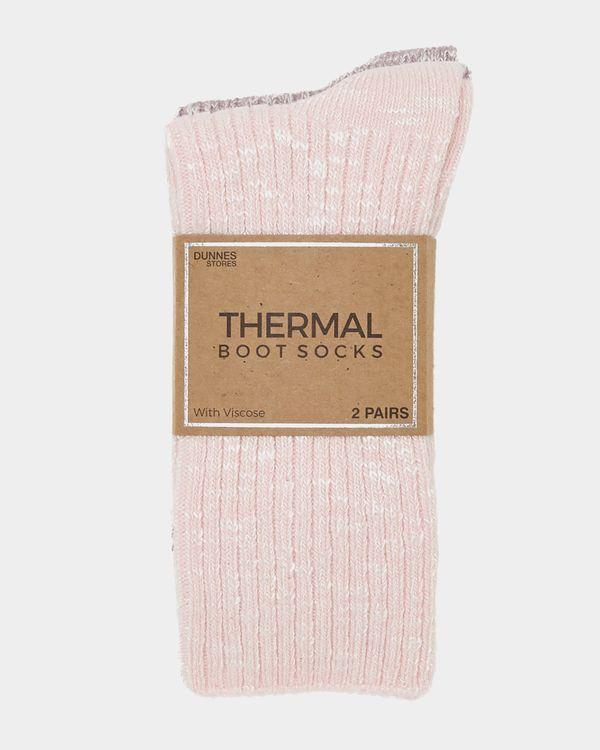 Viscose Rib Thermal Boot Socks - Pack Of 2