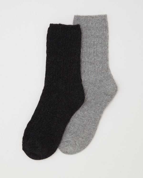 Cable Wool Mix Sock - Pack Of 2