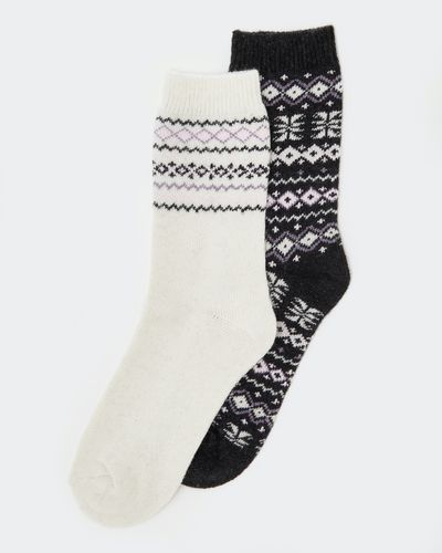 Wool Mix Jacquard Boot Socks - Pack Of 2