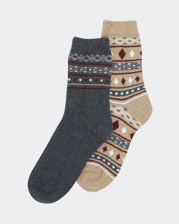Wool Mix Jacquard Boot Sock - Pack Of 2