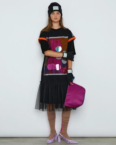 Joanne Hynes Sequin Velvet Dress With Tulle Overlay