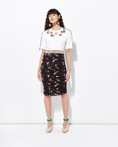 multiJoanne Hynes Gather Me Mesh Up Print Skirt