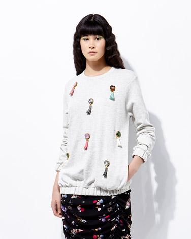 greyJoanne Hynes Mega Crystal And Tassel Sweater