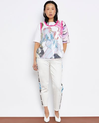 Joanne Hynes The Waiting Girl Printed Sequin Top (With Moving Sequins)
