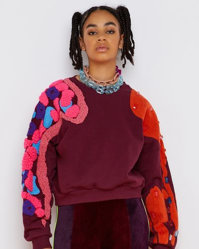 Joanne Hynes Claret Craftizan Lux Lounge Crop Sweater