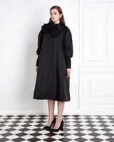 black Joanne Hynes Nylon Hand Draped Coat With Removable Floral Brooches