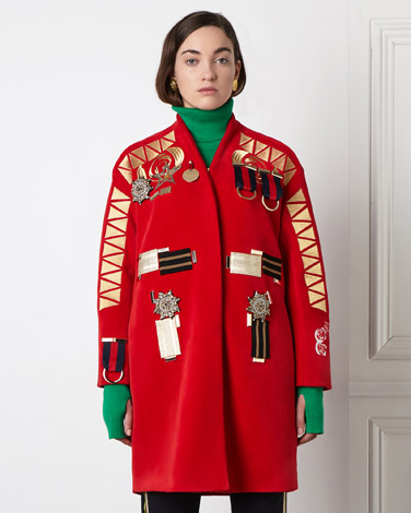 red Joanne Hynes Velvet Embellished Coat