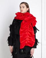red Joanne Hynes Double Layer Rouched Velvet Scarf