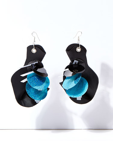 black Joanne Hynes Drape Crafted Leather Earrings