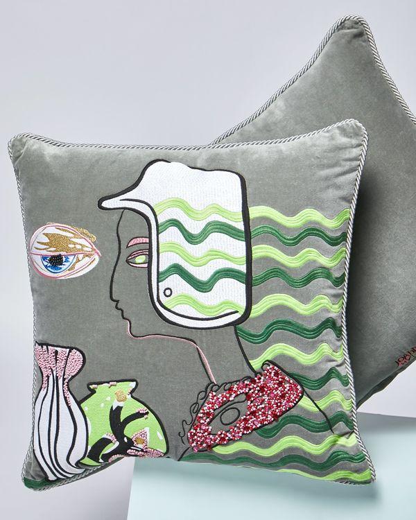 Joanne Hynes Sketchbook Racing Girl Velvet Cushion
