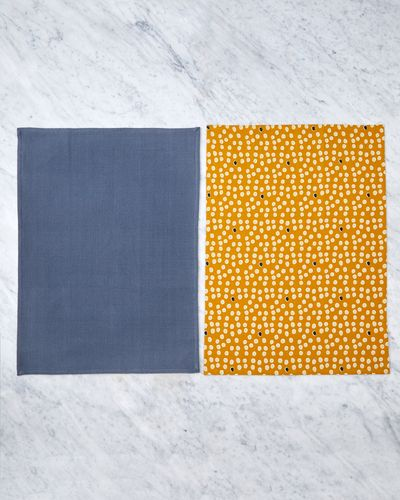 Helen James Considered Yellow Dot Tea Towels - Pack Of 2