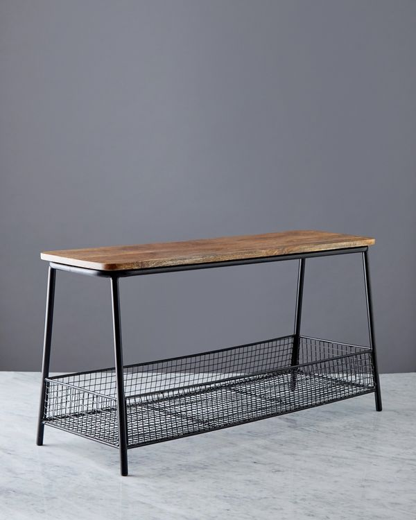 Helen James Considered Wooden Bench With Basket