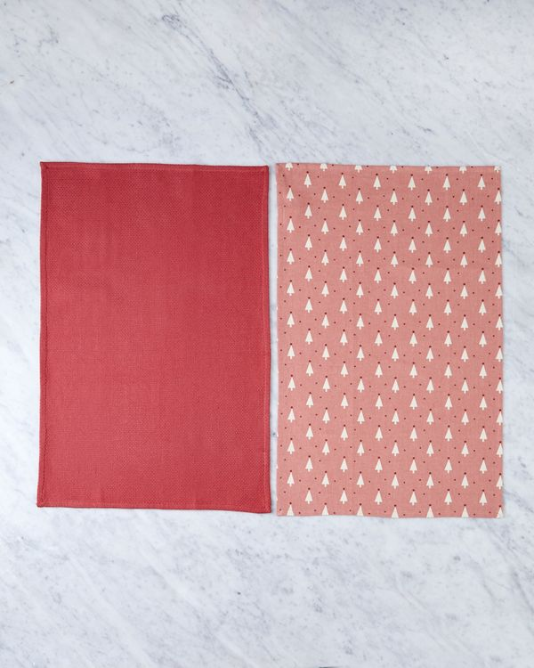 Helen James Considered Pink Christmas Tree Tea Towel - Pack Of 2