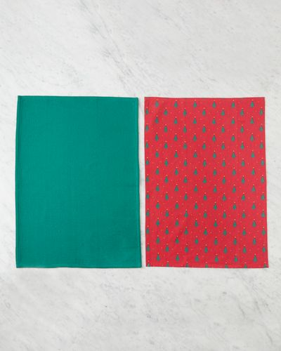 Helen James Considered Red Christmas Tree Tea Towel - Pack Of 2 thumbnail
