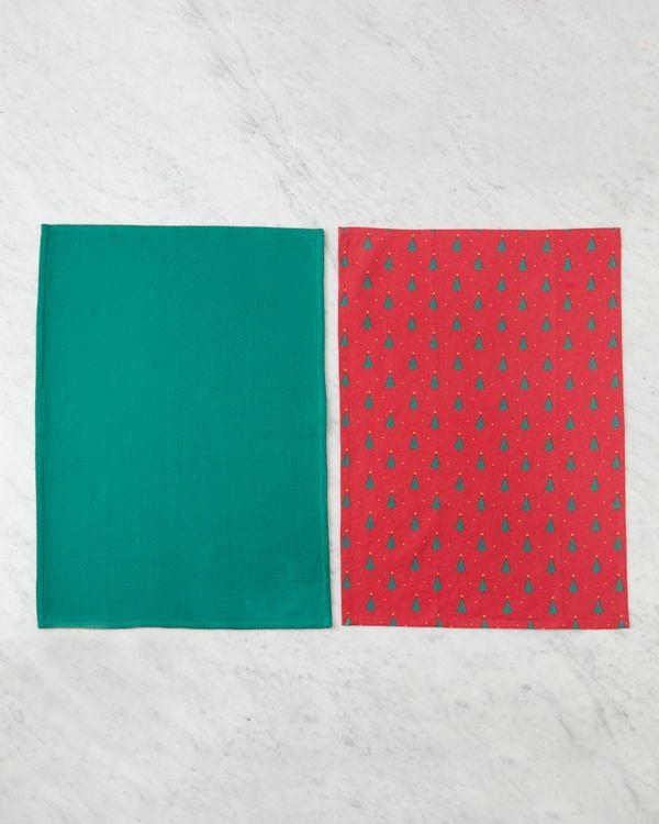 Helen James Considered Red Christmas Tree Tea Towel - Pack Of 2