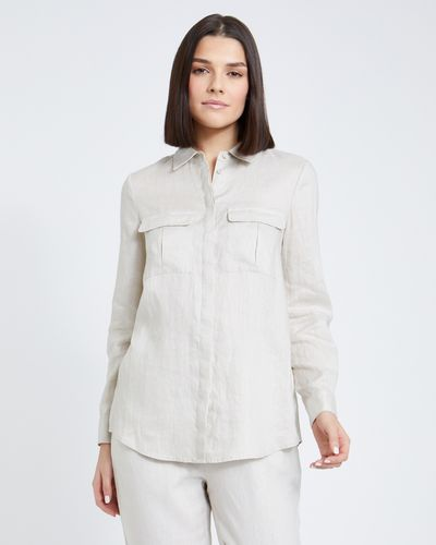 Paul Costelloe Living Studio Stone Linen Shirt