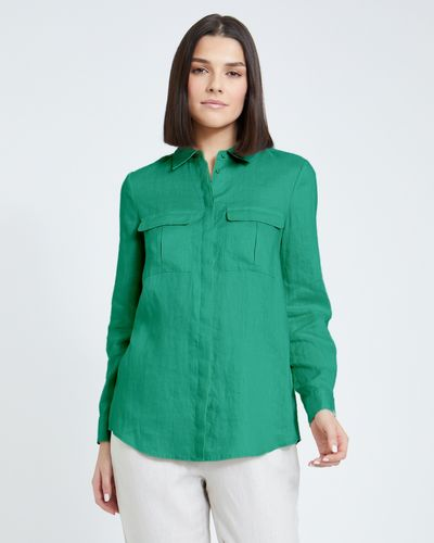 Paul Costelloe Living Studio Green Linen Shirt
