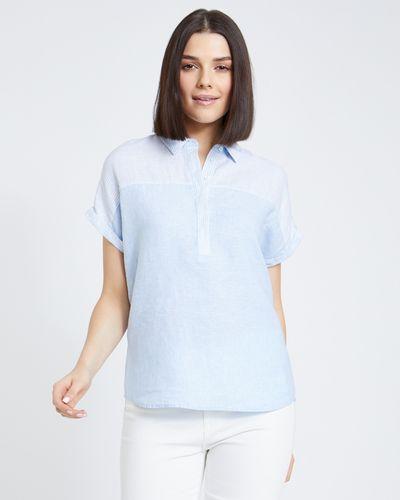 Paul Costelloe Living Studio Linen Blue Stripe Panel Shirt