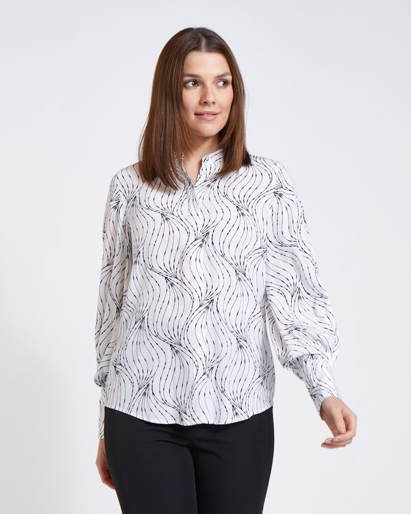 Paul Costelloe Living Studio Mono Swirl Blouse