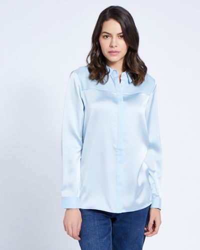 Paul Costelloe Living Studio Blue Collar Panel Blouse