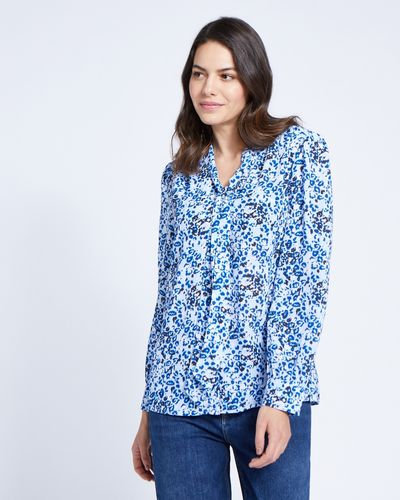 Paul Costelloe Living Studio Blue Leopard Blouse