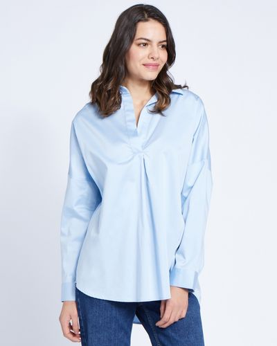 Paul Costelloe Living Studio Blue Curve Placket Blouse
