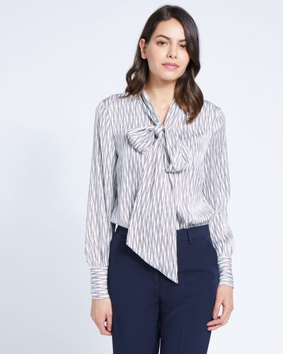 Paul Costelloe Living Studio Printed Pussybow Blouse