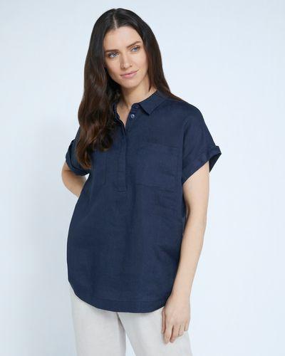 Paul Costelloe Living Studio 100% Linen Navy Pocket Shirt