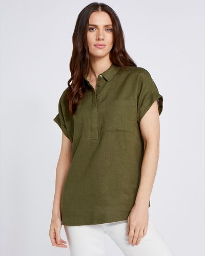 Paul Costelloe Living Studio 100% Linen Green Pocket Shirt