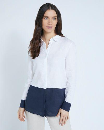 Paul Costelloe Living Studio 100% Linen Navy Colour Block Shirt
