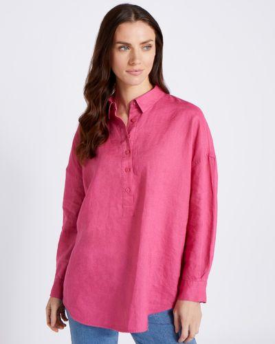 Paul Costelloe Living Studio Pink Curve Hem 100% Linen Shirt
