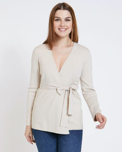 Paul Costelloe Living Studio Natural Wrap Cardigan thumbnail