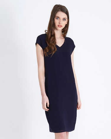 navyPaul Costelloe Living Silk Front Dress