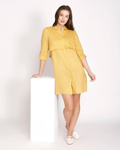Paul Costelloe Living Studio Collar Overlay Linen Dress