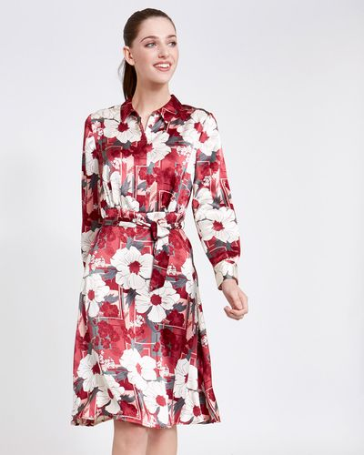 Paul Costelloe Living Studio Pink Floral Placket Dress