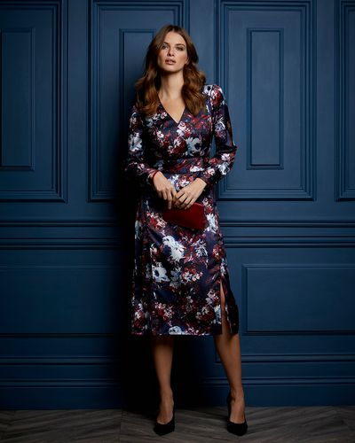Paul Costelloe Living Studio Floral V-Neck Dress