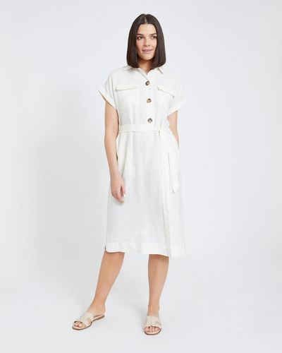 Paul Costelloe Living Studio Cream Two Pocket Linen Dress