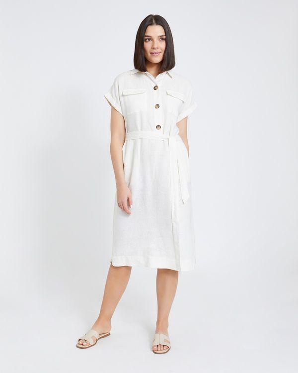 Paul Costelloe Living Studio Cream Two Pocket Linen Dress